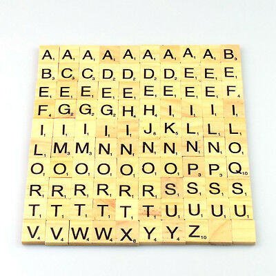 100 Wooden Scrabble Tiles Black Letters Numbers For Crafts Wood Alphabets Game