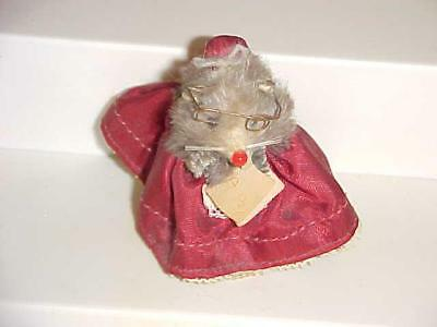 Vintage LITTLE MOUSE Germany Real Fur Toy TEACHER Librarian w ABC Book