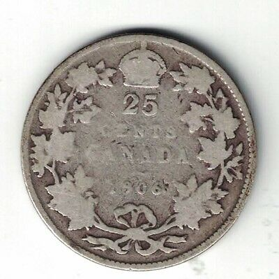 Canada 1906 Twenty Five Cents Quarter King Edward Vii Sterling Silver Coin