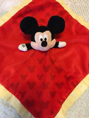 """Disney Mickey Mouse Red Infant Plush Security Blanket Lovey 14"""" X 14"""""""