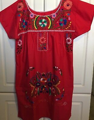 Authentic Mexican Handmade And Hand Embroidered Red Multicolor Dress, Sz S Nwot