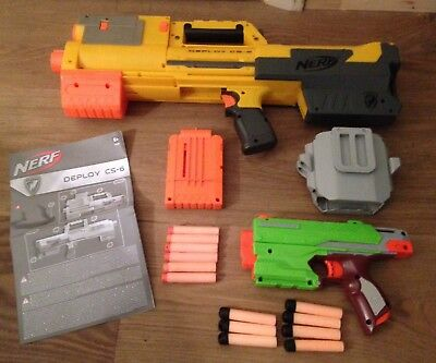 Nerf N-Strike Deploy Cs-6 + Instructions & Handgun And Holster + Darts