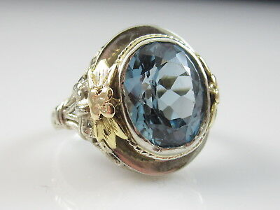 Antique Ring Spinel Vintage 14K White Yellow Rose Estate Victorian Period Deco