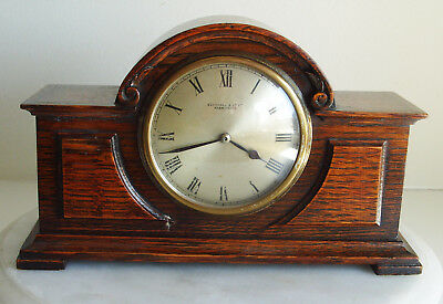 Antique Vintage Edwardian Mahogany Inlaid Case Mantle Clock