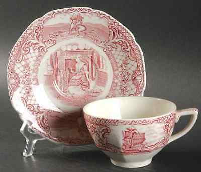 Crown Ducal COLONIAL TIMES PINK Cup & Saucer 91900