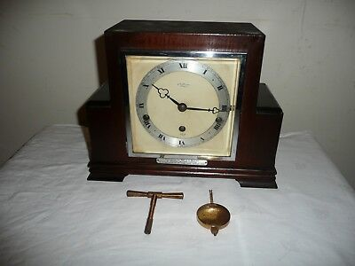 J W Benson / Elliott Westminster Chimes Mantle Clock, Original Key. Restoration.