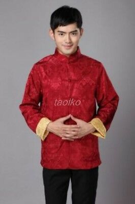 Ethnic Men's Tang Suit Chinese Style Vintage Coats Dress Coat Collar Silk Shirts