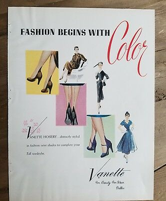 1951 women's VANETTE Hosiery stockings fashion begins with color vintage ad