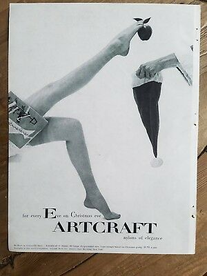 1953 Artcraft Hosiery nylon stockings woman's legs Santa hat ad