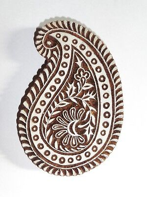 Paisley Shaped 14cm Indian Hand Carved Wooden Printing Block (2018-PA-15)