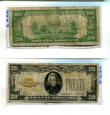 1928 $20 Gold Certificate Currency Note Vg 542L