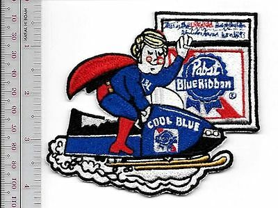 Snowmobile Beer Pabst Blue Ribbon Cool Blue Blond 1970 Promo Patch Milwaukee, Wi