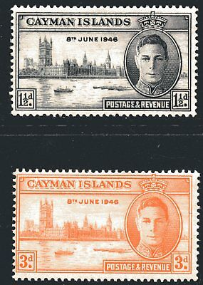 Cayman Islands 1946 Victory set of 2 Mint Unhinged