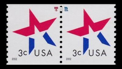 3615 Star Make Up Rate 3c Attached Coil Pair Untagged 2002 MNH - Buy Now