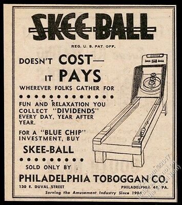 1957 Skee Ball arcade game machine Philadelphia Toboggan vintage trade print ad