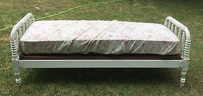 Antique Vintage 1800's Custom Size Jenny Lind Wooden Spool Bed With Mattress