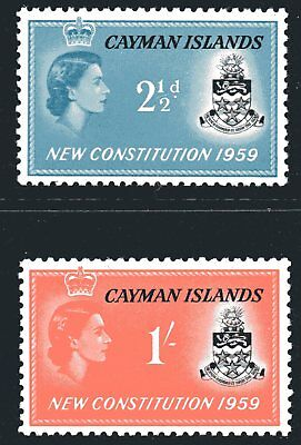 Cayman Islands 1959 New Constitution set of 2 Mint Unhinged