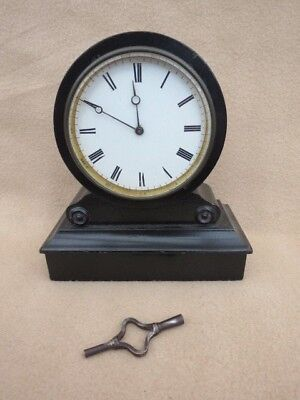Small Antique French Ebonised Drum Clock For Spares Or Repair