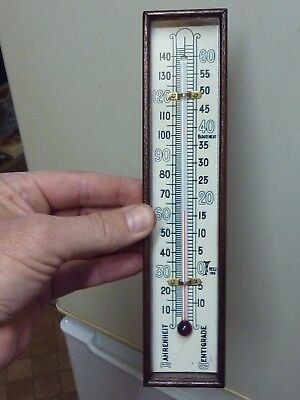 Used Not Old  Barometer Thermometer & Mahogany Box (N)