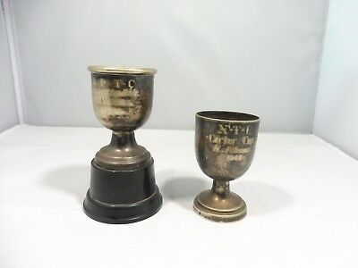 2 1940's / 1950's Sterling Silver Miniature Sporting Trophies 1.64 Troy Ounces