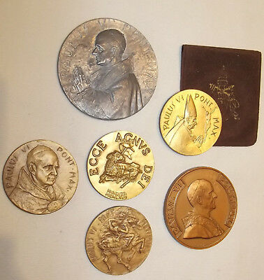Collection 6 Papal Medals Pope Paul VI 1975 Holy Year Catholic Press Lamb of God