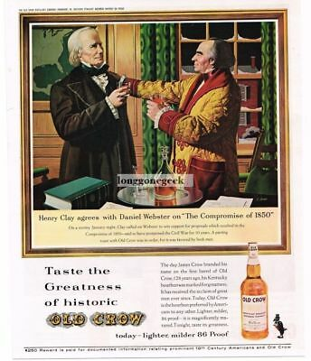 1963 OLD CROW Bourbon Henry Clay Daniel Webster art by C. Jones Vtg Print Ad