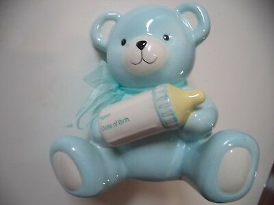 Large Heavy Teddy Bear Piggy Bank With Name And Date Of Birth On Baby Bottle