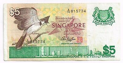 1976 SINGAPORE FIVE DOLLARS NOTE - p10