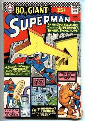 Superman #187 1966-80 page giant-DC comics- Fortress of Solitude VG