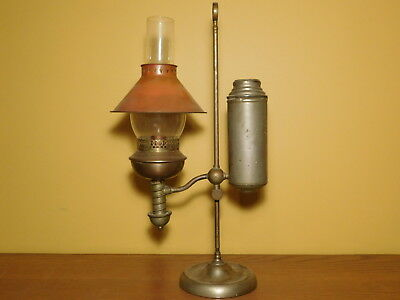 Antique Victorian Solid Brass Oil / Kerosene Student Lamp (Electrified)