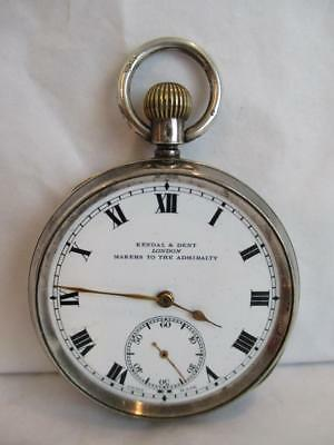 """1919 Silver Pocket Watch """"kendal & Dent"""" London H/mark  Makers For The Admiralty"""