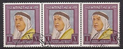 Kuwait 1964 Shaikh Abdullah 1D Maroon, Fine Used Strip Of Three, Cat £24+