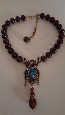 "Heidi Daus ""Sparkling Scarab"" Beaded Crystal-Accented Drop Necklace $260 Retail"