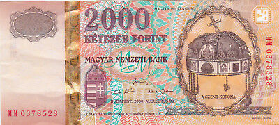 2000 Forint Vf Crispy Commemorative Banknote From Hungary 2000!pick-186