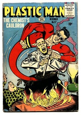 PLASTIC MAN  #57-comic book-Horror cover-1955 VG+