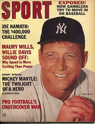 Sport 8/1965-Mickey Mantle-New York Yankees-NFL-Joe Namath-photos-info-VF