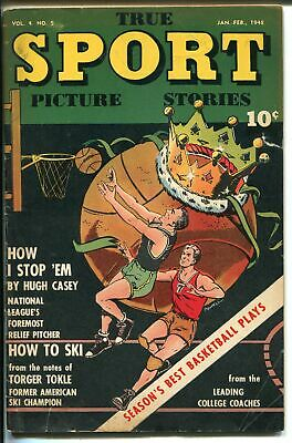 True Sport Picture Stories Vol. 4 #5 1948-basketball cover-Bob Powell- Figg-VG