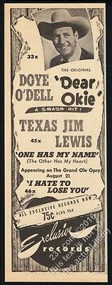 1948 Doye O'Dell photo Dear Okie song release vintage trade print ad