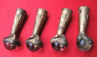 4~Antique~Eagle~Claw~Feet~Glass Ball~Old~Furniture~Hardware~Table Leg~Stool