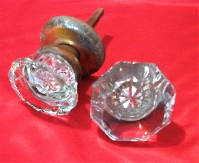 2~Antique~Clear~GLASS DOOR KNOBS~Old~Hardware~Brass