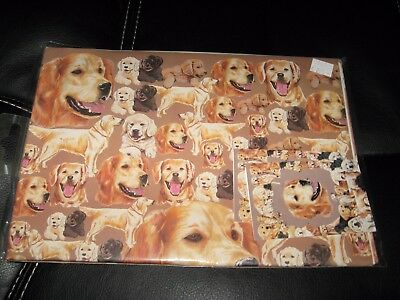 """Golden Retriever DOG Wrapping Paper 4 Sheets 19.5"""" x 27.5"""" Gift Wrap w 2 Tags"""
