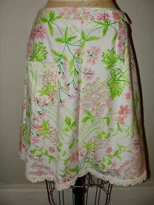 VINTAGE 60s THE LILLY PULITZER*WHITE&PINK FLORAL LEAF PRINT LACE  SKIRT*12 M/L