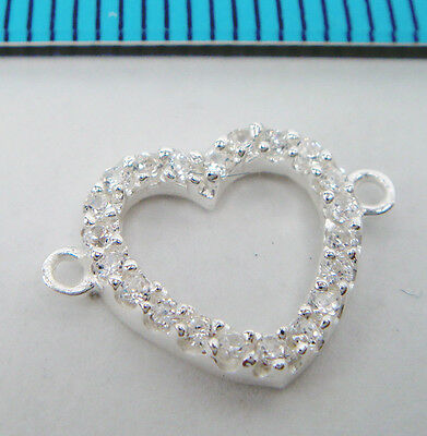 1x BRIGHT STERLING SILVER CZ CRYSTAL HEART LINK CONNECTOR BEAD 10.6mm #1993