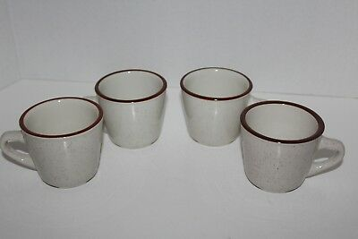 LOT of 4~VINTAGE~Rego SPECKLED~Restaurant~CUPS~Mugs~STONEWARE~C652-21V~Brown Rim