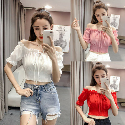 Korean Women Chiffon Off Shoulder Crop Tops Elastic Waist Tunic Clubwear Blouse