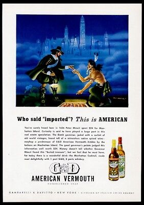 1945 Peter Minuit buying Manhattan from Indian art G&D Vermouth vintage print ad