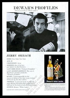 1970 Jerry Orbach photo Dewar's White Label Scotch whisky vintage print ad