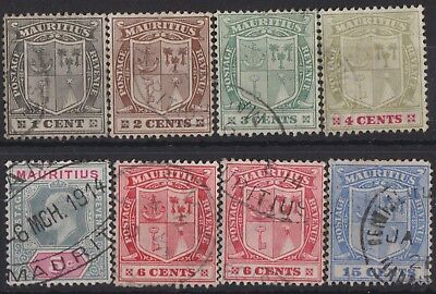 c303) Mauritius.1910. Used. SG 181 to 186a,189. Coat of  Arms.Royalty.