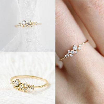 Elegant Women 14k Solid Gold Plated Ring Engagement Silver Crystal Fashion Gifts
