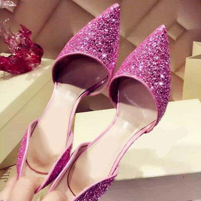 Women Sexy Stiletto Pointed Toe High Heels Bling Pumps Wedding Party Boat Shoes
